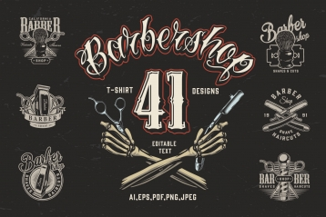 Cover of 41 vintage barbershop t-shirt designs with crossed skeleton hands holding scissors and razor