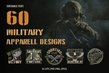60 vintage military designs cover with image of brave soldiers and colorful army emblems and badges