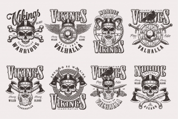 Vintage monochrome style Viking badges set with warrior skulls in helmet and winged shield, swords, axes, bones