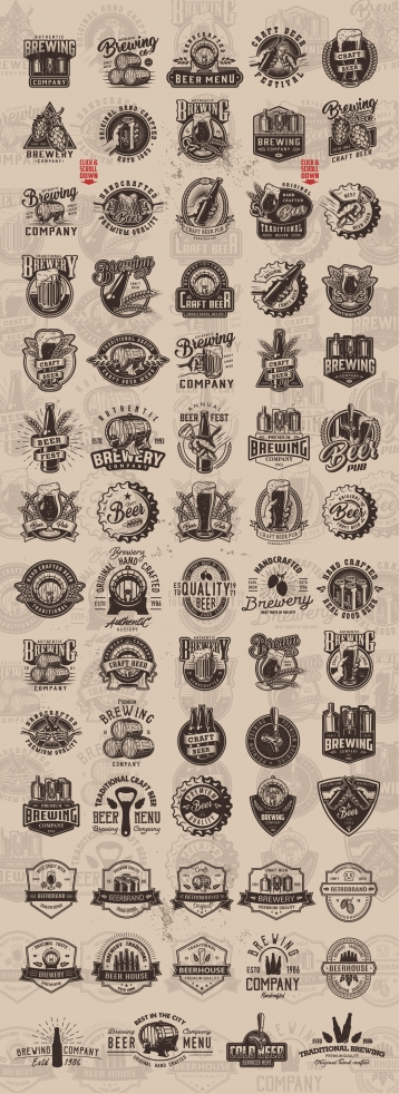 Vintage monochrome style beer designs big set with brewing emblems, badges, prints and labels on light background
