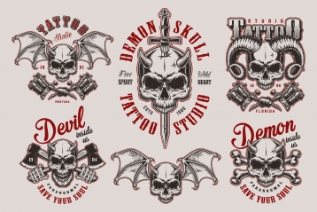 Vintage demon tattoo studio prints set with horned devil skulls, crossed axes, bones, tattoo machines and sword on light background