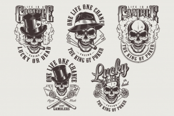 Vintage gambling emblems set with gangster skulls in crown, fedora and cylinder hats with smoking pipes, roses and playing cards