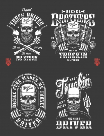 Old school style truck driver prints set with trucker skulls, holding steering wheel and fuel pump in monochrome style on dark background