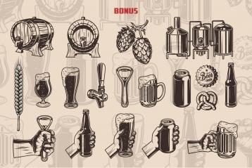Vintage beer elements collection with beer wooden casks, hop cones, brewing machine, wheat ear, beer glasses, tap, bottle opener, pretzel, beer bank and bottle, male hand holding beer bottle, mug, glass, bottle opener and can