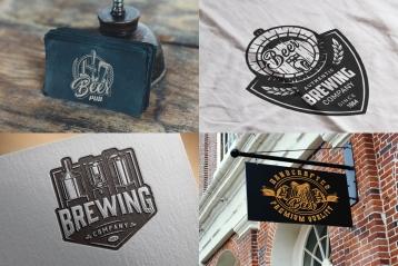 Beer mockups composition with vintage monochrome style beer emblems, logos, badges using for beer pub business cards, apparel design, menu cover and bar signboard