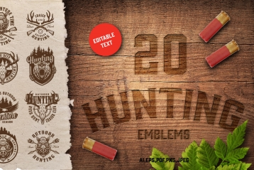 Cover of 20 vintage hunting emblems with inscription on wooden surface, shotgun shells, leaves and monochrome style badges on ragged paper sheet