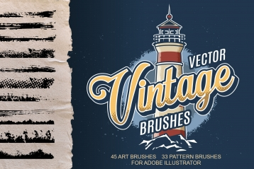 Vintage brushes cover concept with lighthouse and calligraphic brushes on ragged paper sheet