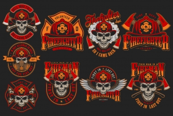Firefighter vintage color emblems. Vector art