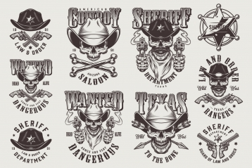 Set of Vector Vintage Sheriffs Monochrome Emblems on Light Background