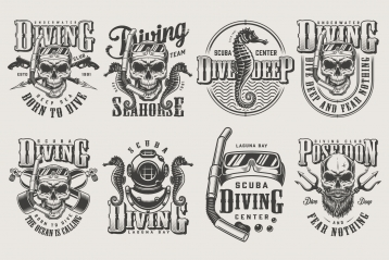 Set of vintage monochrome apparel designs for divers. Vector art