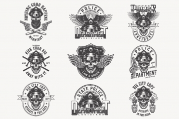 Set of vintage police monochrome designs on white background