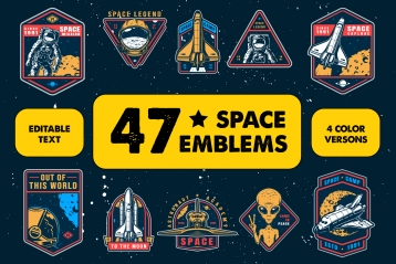 47 color space emblems, designs, and badges. Collection of vector art with astronaut, shuttle and alien. Editable text, EPS, JPG, PDF, PSD, AI, PNG files.