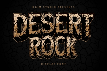 Desert rock display font family cover with damage stone cracks texture on dark background