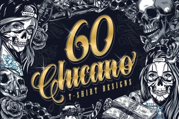 60 Chicano t-shirts designs cover with different illustrations in Chicano tattoo style