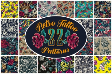 22 retro tattoo patterns cover with twenty-two number and beautiful rose flowers