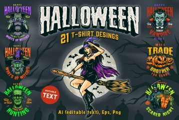21 Halloween t-shirt designs cover with different Halloween illustrations.