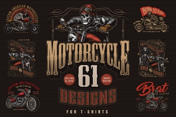 61 Motorcycle t-shirt designs bundle cover with different motorcycle illustrations.