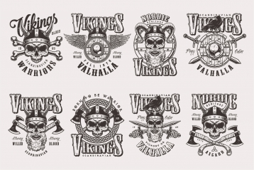 Set of Vector Vintage Vikings Monochrome Emblems on Light Background