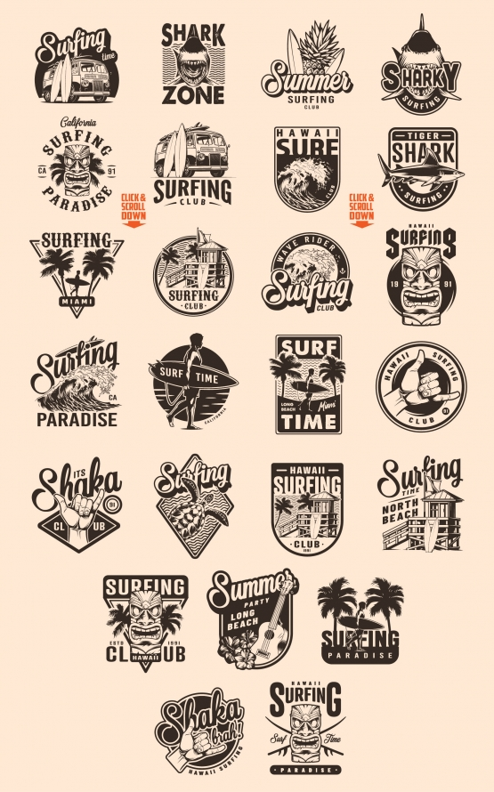 Vintage surfing monochrome style emblems with tribal tiki mask, shark, ukulele, hibiscus flowers, fruits, wooden house, shaka hand sign, man holding surfboard, surf bus, sea waves on light background