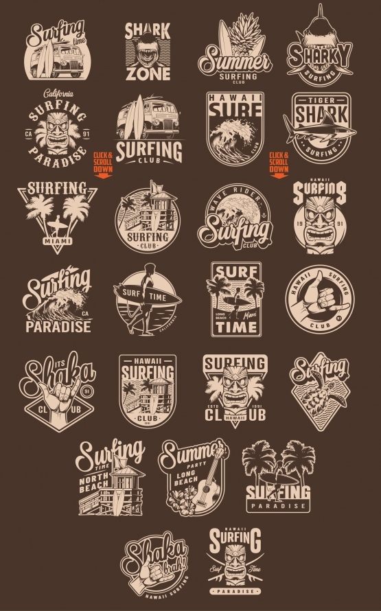 Old school style surfing prints with surfboards, Hawaiian traditional tiki mask and ukulele, surfer hand sign, travel van, house of surfing club, fruits, palm trees, turtle, shark