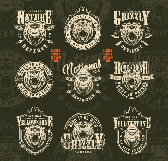 Vintage monochrome style outdoor and wild life designs collection with ferocious and serious bear heads with and without safari hat, crossed arrows and axes on dark background