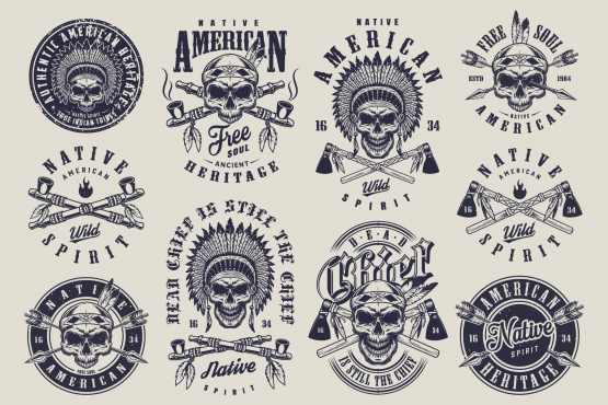 Old school style Native American Indians labels set with skull in feather headwear and crossed smoking pipes, arrows, tomahawks on light background