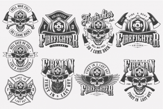 Vintage monochrome style firefighting badges set with skulls in fireman helmet, crossed axes and bones on light background