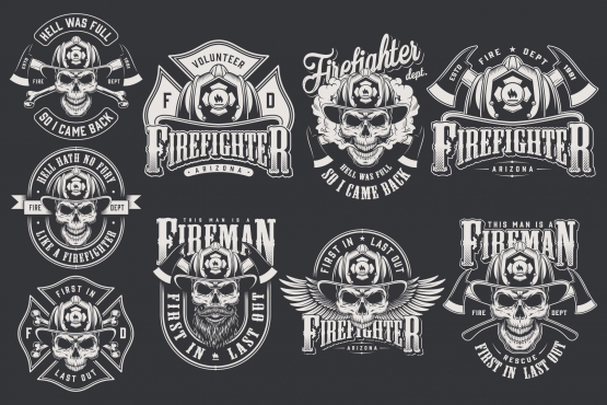 Vintage firefighter emblems collection with crossed axes, eagle wings, crossbones and skulls in fireman helmet in monochrome style