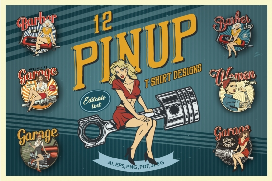 Cover of 12 pinup t-shirt colorful designs with beautiful attractive women and girls in vintage style