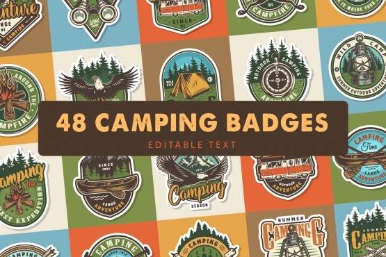 Cover of 48 vintage camping badges with colorful outdoor recreation emblems, prints and labels