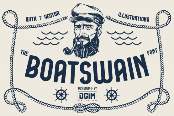 Boatswain font cover with sailor smoking pipe and various nautical elements in vintage style