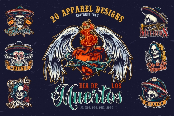 20 vintage apparel Dia De Los Muertos designs cover with colorful Day of the Dead emblems, labels and badges