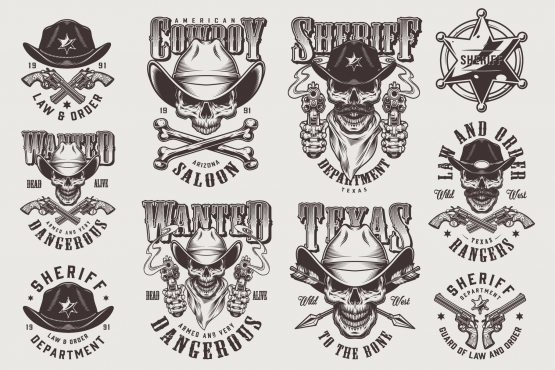 Vintage monochrome style wild west emblems set with skulls in cowboy hat, sheriff badge, crossbones, pistols, arrows on light background