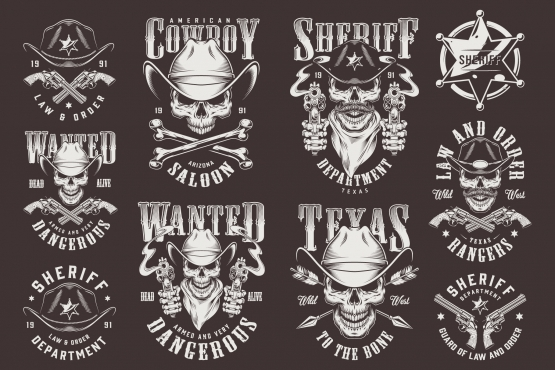 Old school style wild west prints collection with cowboy and sheriff skulls, badge, guns, arrows, bones in monochrome style