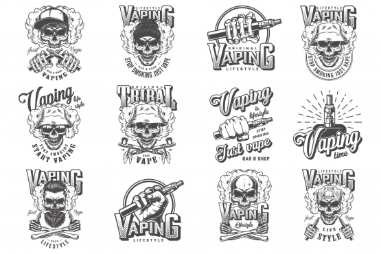 Vintage vaping monochrome style labels set with skull in baseball cap, hipster and panama hats, vaporizer, electronic cigarettes and smoking pipes