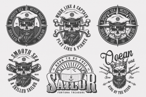Vintage monochrome style nautical labels collection with skulls in sea captain hat and crown, crossbones, spyglasses, Poseidon tridents on light background