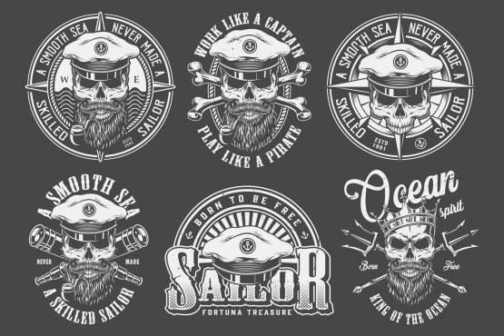 Old school style nautical prints set with sea captain skull and marine elements in monochrome style