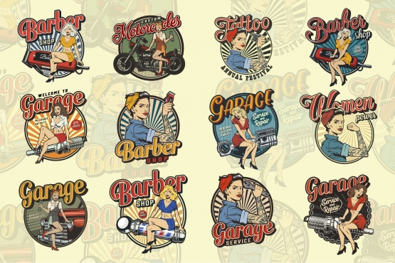 Vintage colorful emblems with pinup pretty girls for barbershop, car and motorcycle repair services, tattoo studio