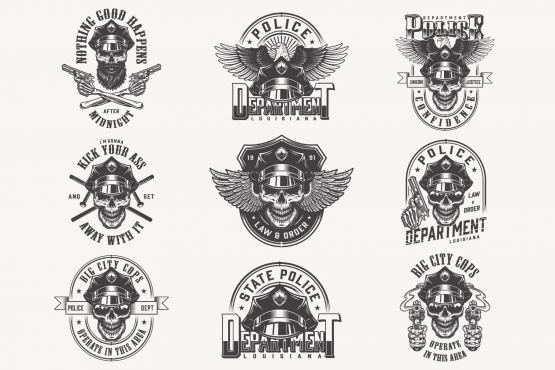Vintage monochrome police labels set with skulls in policeman hat, eagle wings, pistols and crossed batons on light background