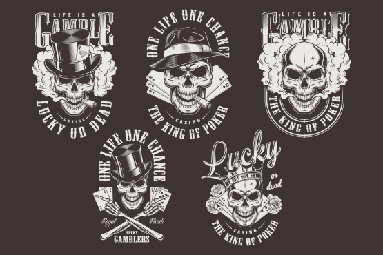Vintage monochrome style gambling prints set with gangster skulls wearing crown, top and fedora hats, roses, smoking pipes, playing cards, smoke elements