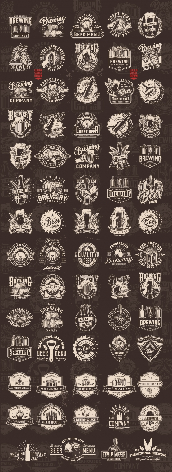 Old school style beer prints collection with beer glasses, mugs, bottles, metal cans, caps, beer wooden casks, hop cones, wheat ears, brewing machine, bottle opener and other elements on dark background