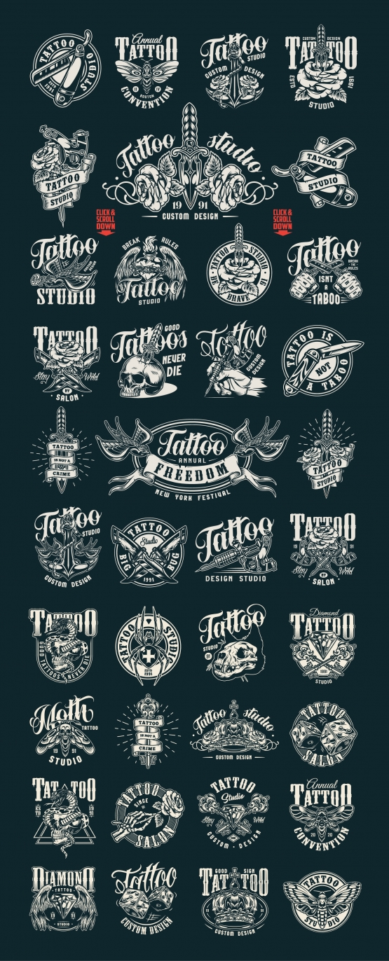 Tattoo studio retro designs collection with monochrome style prints on dark background