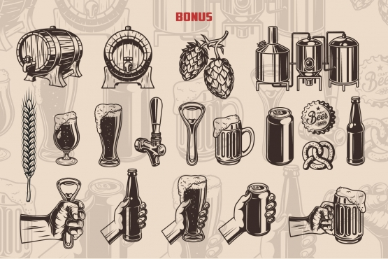 Vintage beer elements collection with beer wooden casks, hop cones, brewing machine, wheat ear, beer glasses, tap, bottle opener, pretzel, beer bank and bottle, male hand holding beer bottle, mug, glass, bottle opener and can