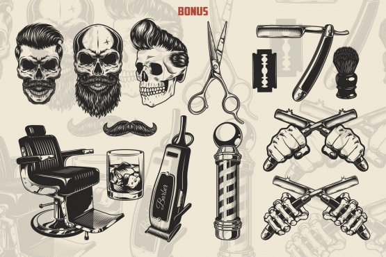 Vintage barbershop monochrome elements collection with hipster skulls, scissors, blade, razor, shaving brush, mustache, barber chair, glass of whiskey, electric hair clipper, barber pole, male and skeleton hands holding crossed razors