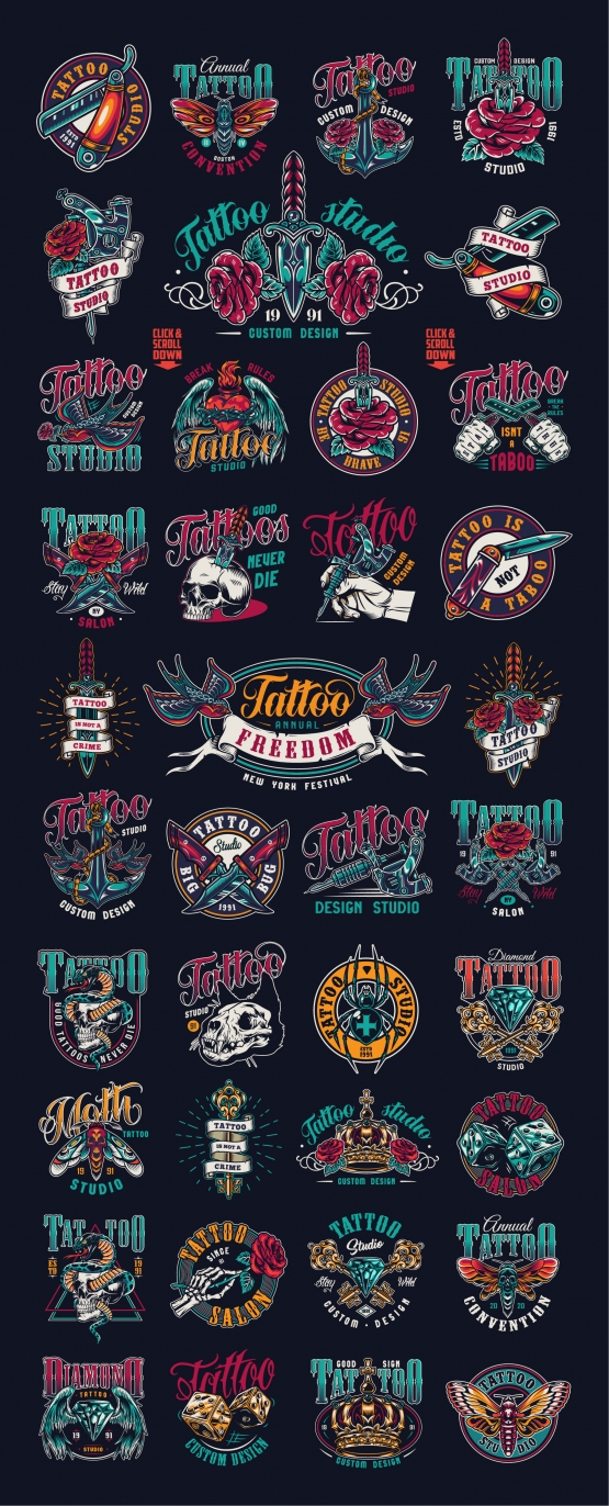Tattoo studio and salon colorful designs with vintage emblems and labels