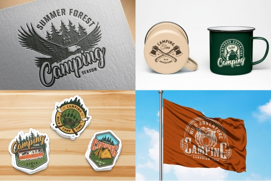 Summer outdoor recreation mockups composition with vintage camping emblems using for brochure cover, stickers, metal cups design and printing on flag