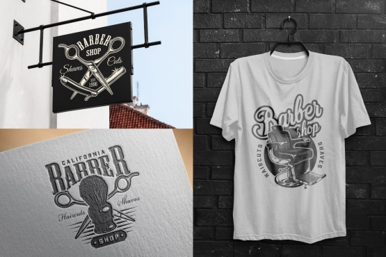 Barbershop mockups template with vintage barbershop badges using for signboards, service list cover and t-shirt designs