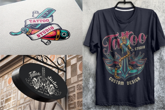 Vintage colorful tattoo designs mockups composition with straight razor, swallows and anchor, dagger and roses emblems using for tattoo salon signboard and printing on paper and t-shirt