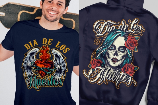 Vintage Day of the Dead mockups concept with colorful Dia De Los Muertos labels printing on t-shirt and hoodie