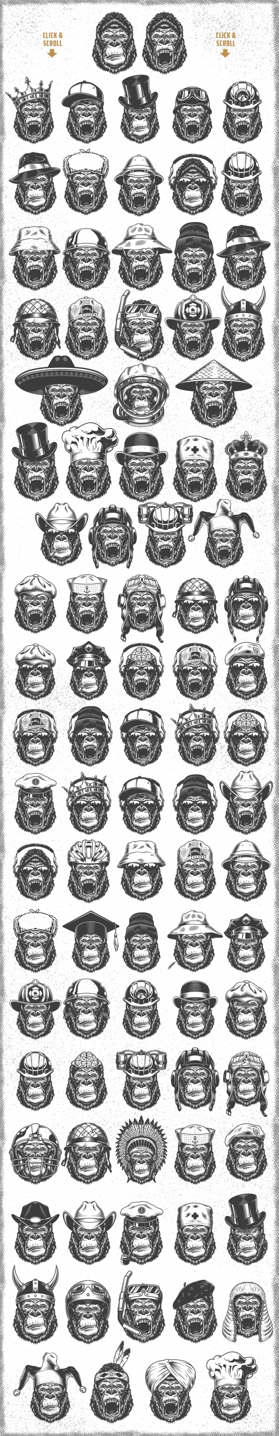 Set of gorillas